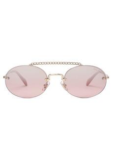 Miu Miu Crystal-embellished oval sunglasses