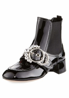 Crystal-Embellished Patent Bootie