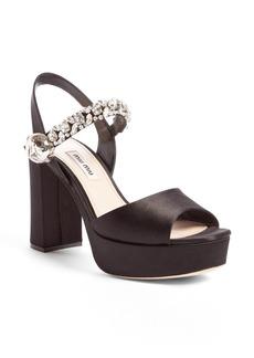 Miu Miu Crystal Embellished Platform Sandal (Women)