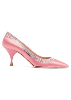 Miu Miu Crystal-embellished point-toe satin pumps