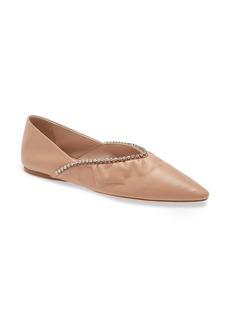 Miu Miu Crystal Embellished Pointed Toe Ballet Flat (Women)