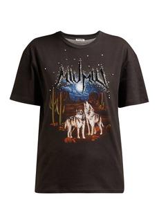 Miu Miu Crystal-embellished printed T-shirt