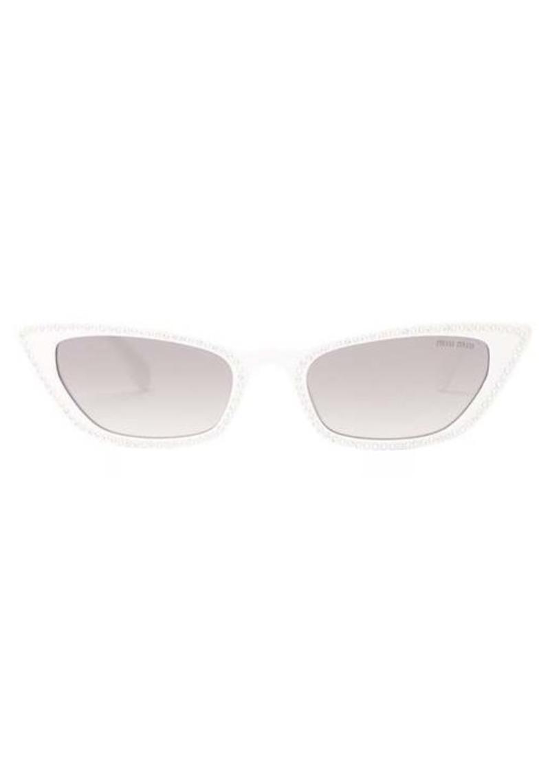 Miu Miu Crystal-embellished rectangular sunglasses