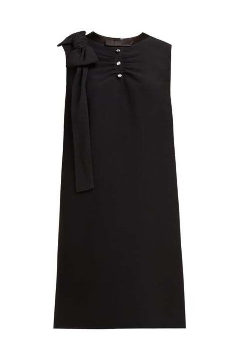 Miu Miu Crystal-embellished ruched crepe shift dress