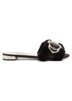 Miu Miu Crystal-embellished satin and rabbit-fur slides