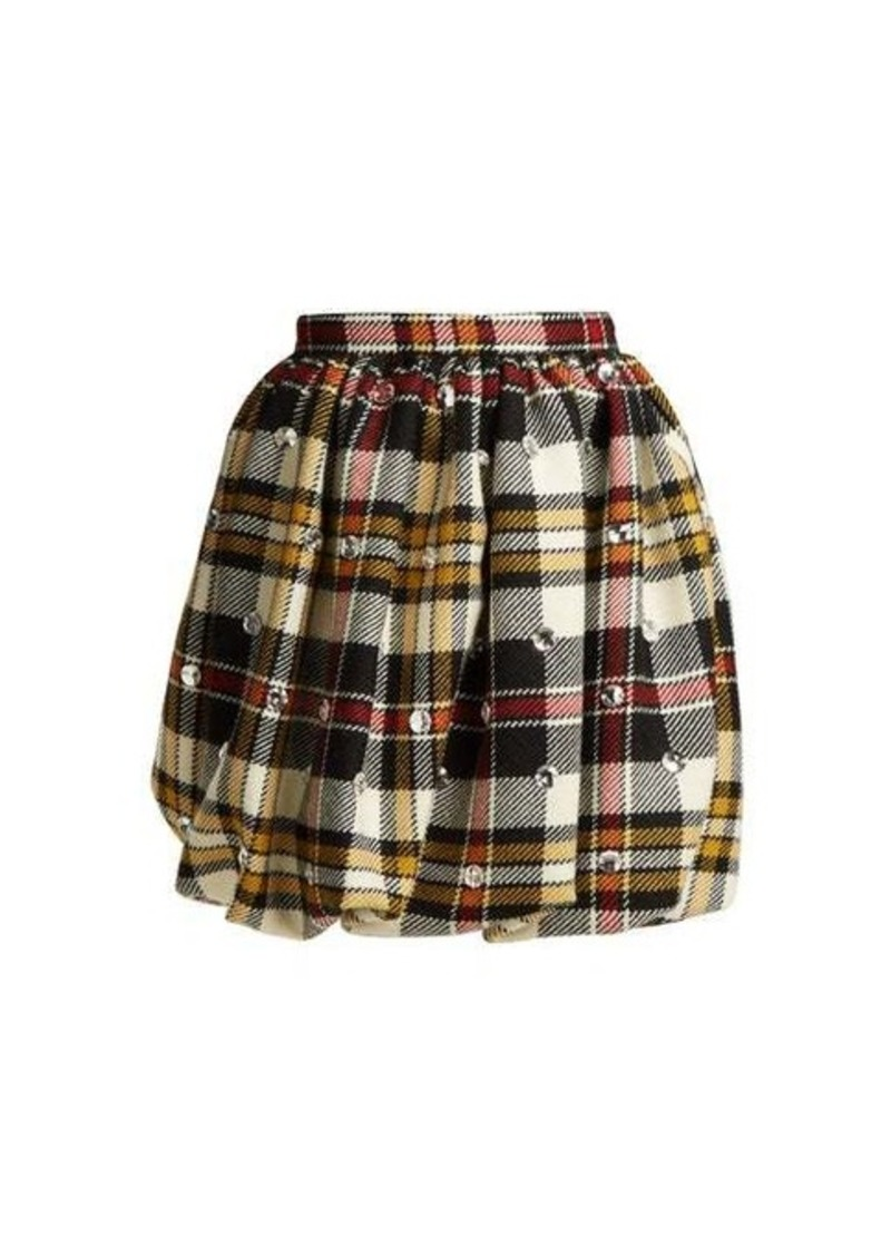 Miu Miu Crystal-embellished tartan wool mini skirt