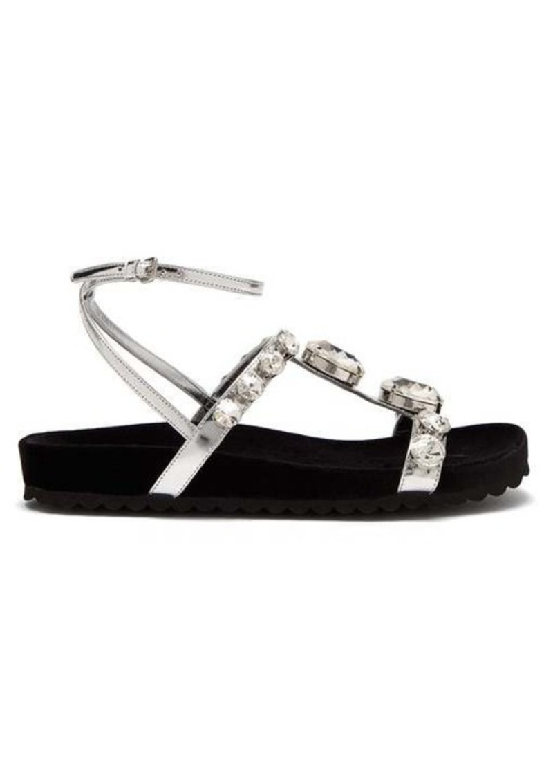 Miu Miu Crystal-embellished velvet and leather sandals