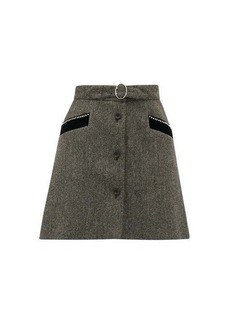Miu Miu Crystal-embellished wool-herringbone mini skirt