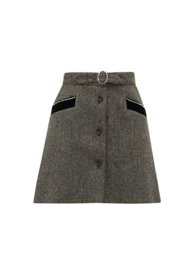 Miu Miu Crystal-embellished wool-herringbone mini skirt