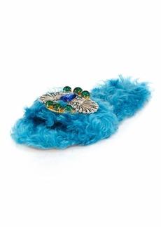 Miu Miu Crystal Faux-Shearling Slide Sandals