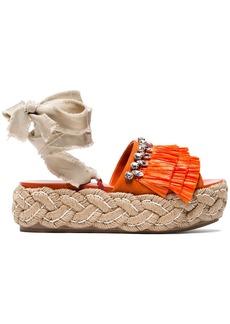 Miu Miu crystal fringed 45 flatform tie up sandals - Red