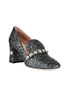 Miu Miu Crystal Glitter Block-Heel Loafers