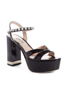 Miu Miu Crystal Strap Block Heel Platform Sandal (Women)