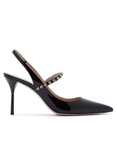 Miu Miu Crystal-strap patent-leather slingback pumps
