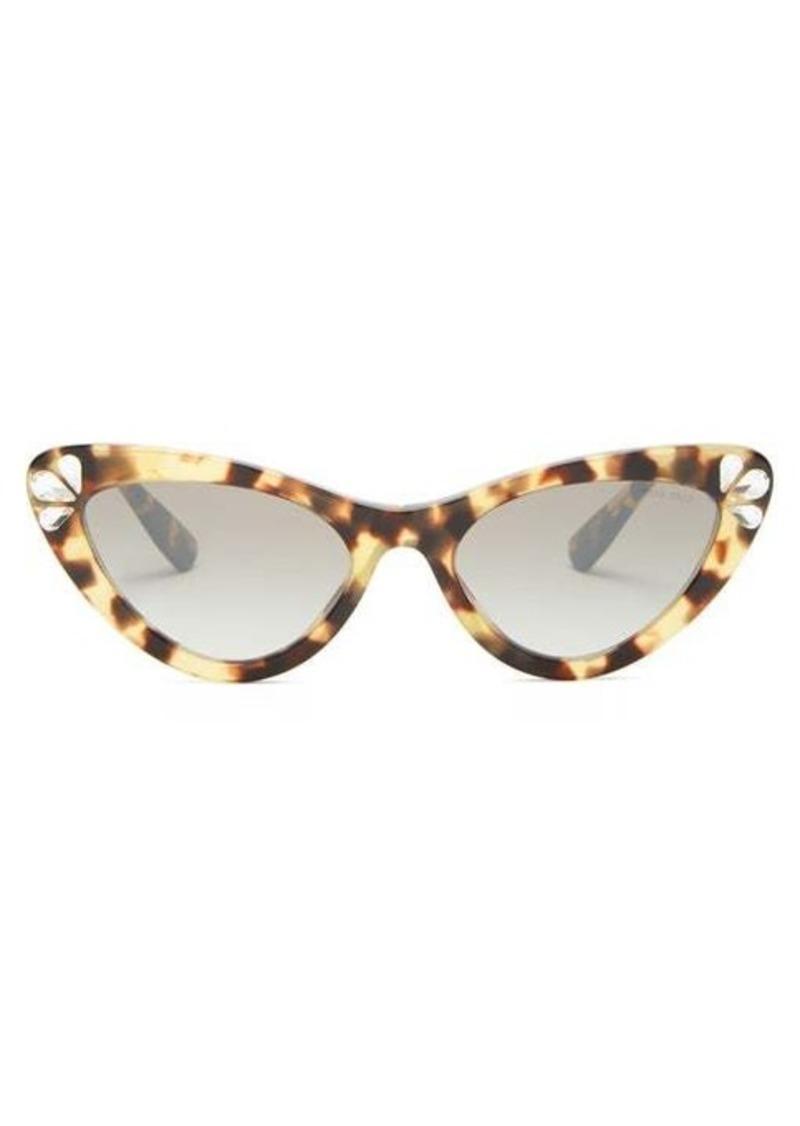 Miu Miu Crystal tortoiseshell cat-eye acetate sunglasses