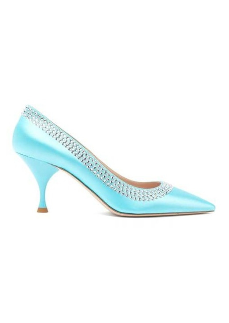Miu Miu Crystal-trim satin pointed pumps