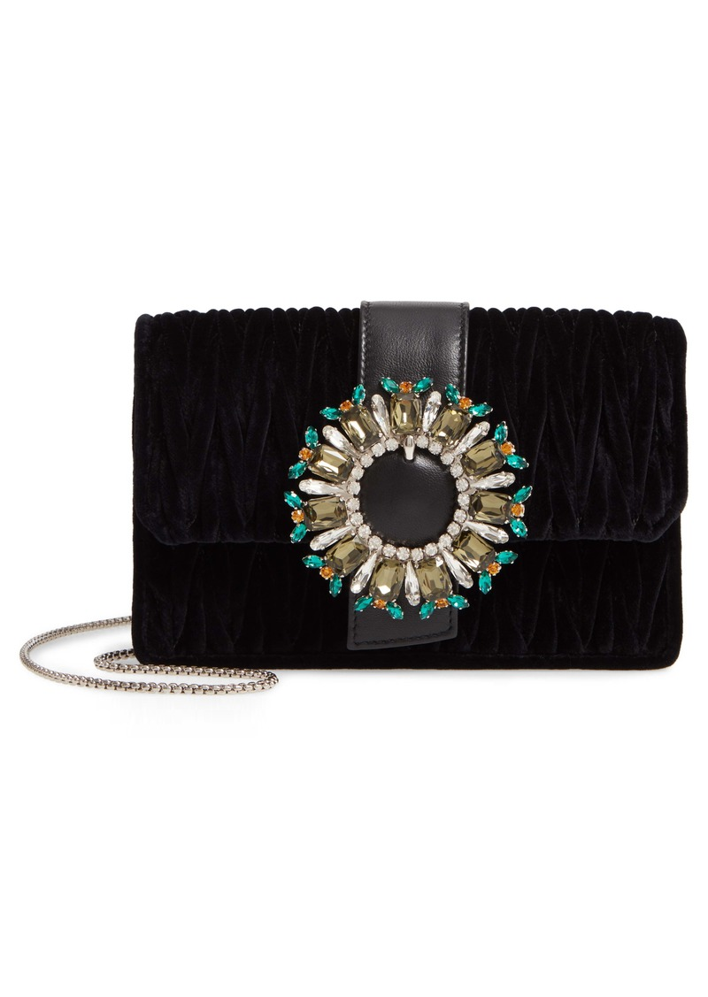 Miu Miu Crystal Velvet Crossbody Bag