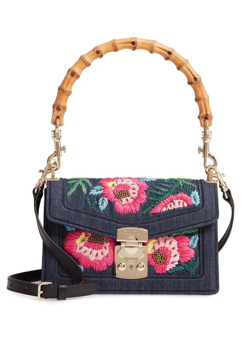 Miu Miu Denim Confidential Embroidered Top Handle Bag