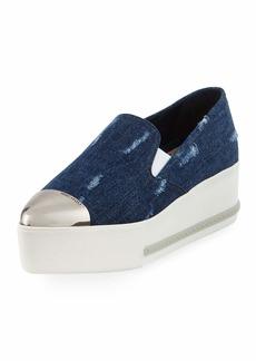 Miu Miu Distressed Denim Platform Sneakers