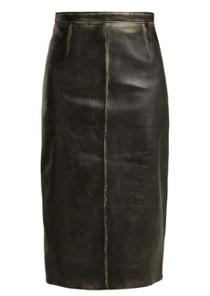 Miu Miu Distressed-leather pencil skirt