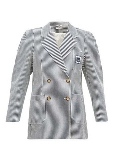 Miu Miu Double-breasted striped cotton jacket