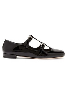 Miu Miu Double-buckle patent-leather flats