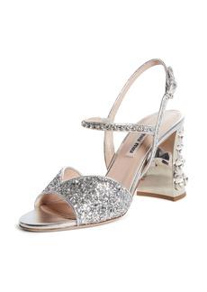 Miu Miu Embellished Block Heel Sandal (Women)