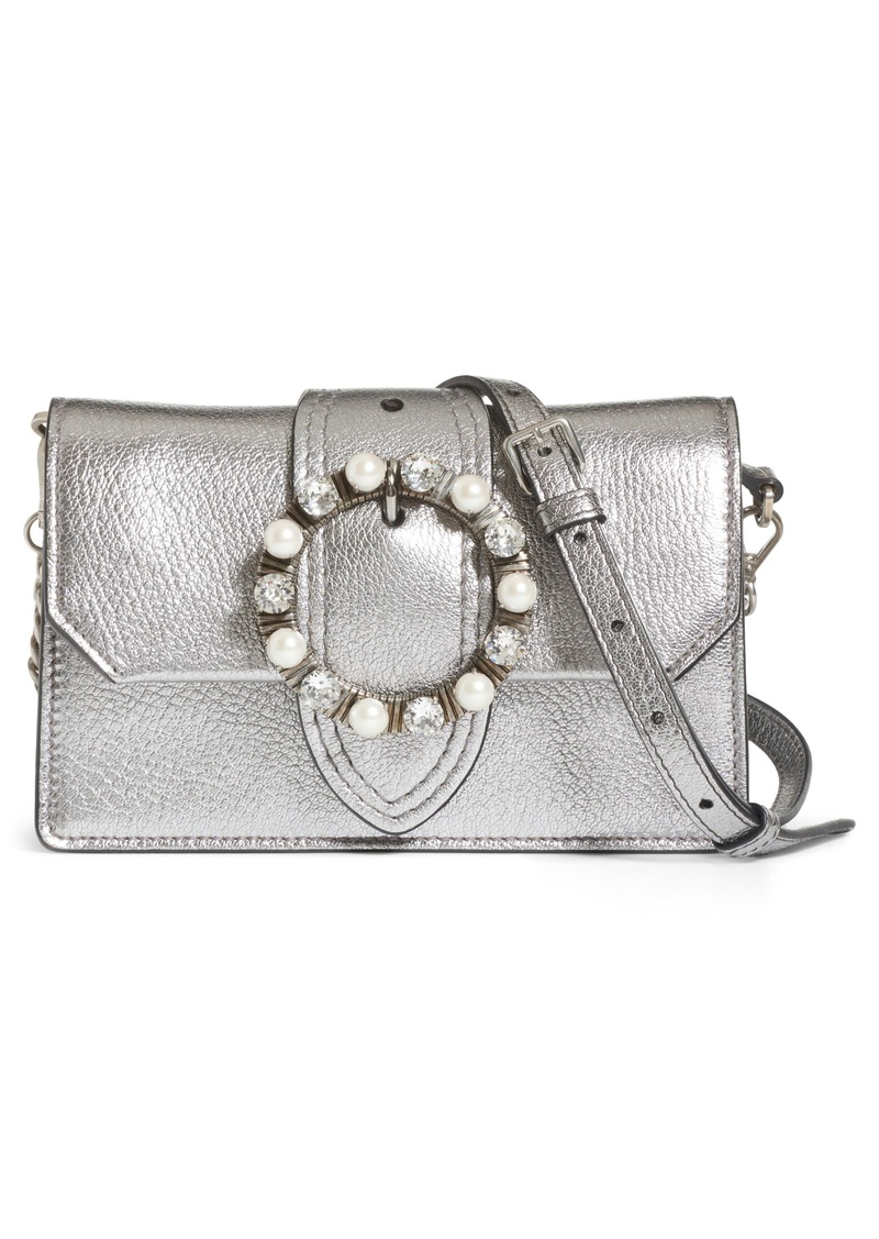 3b30dc5b0687 Miu Miu Miu Miu Embellished Buckle Leather Shoulder Bag
