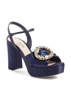 Miu Miu Embellished Buckle Platform Sandal (Women)