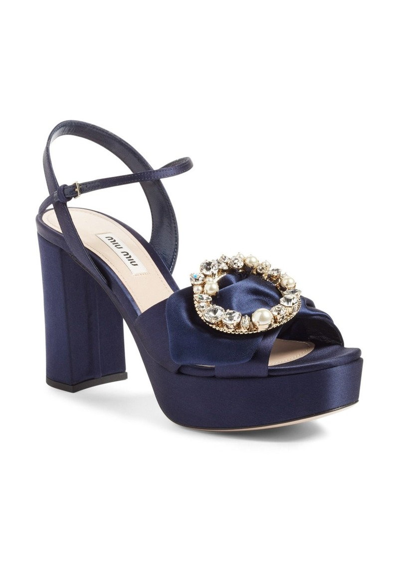 b01ac10863c7 On Sale today! Miu Miu Miu Miu Embellished Buckle Platform Sandal ...