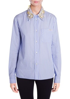 Embellished Collar Button-Front Shirt