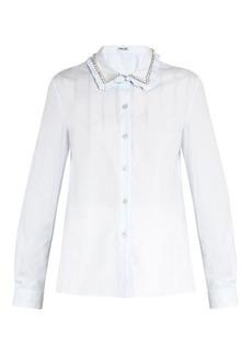 Miu Miu Embellished-collar cotton-poplin shirt