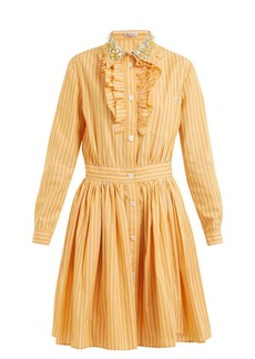 Miu Miu Embellished-collar striped cotton shirt dress