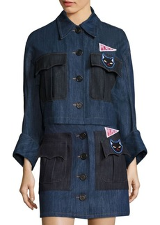 Miu Miu Embellished Denim Cotton Jacket