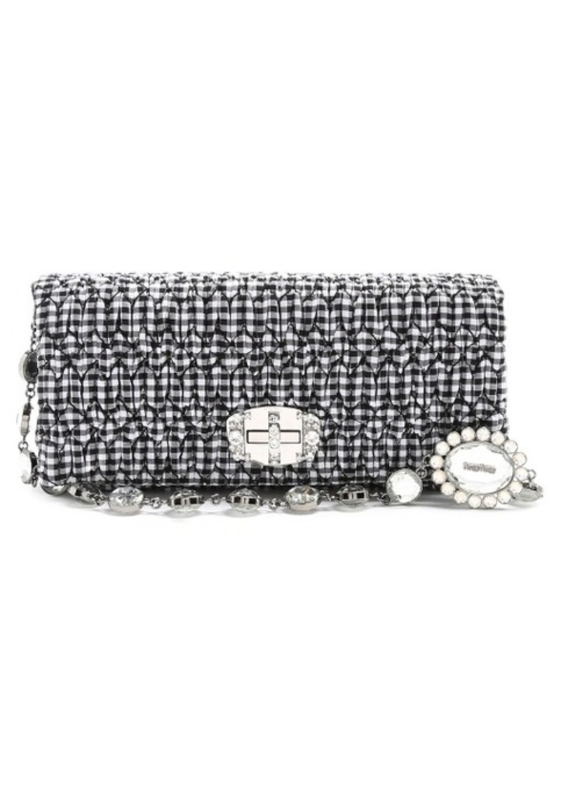 miu miu miu miu embellished gingham shoulder bag handbags shop it to me. Black Bedroom Furniture Sets. Home Design Ideas
