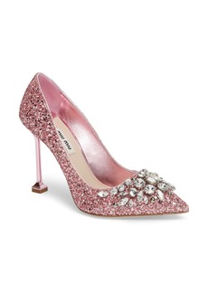 Miu Miu Embellished Glitter Pump (Women)