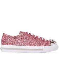 Miu Miu Crystal-embellished Glittered Leather Sneakers