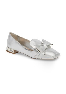 Miu Miu Embellished Heel Bow Loafer (Women)