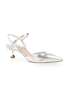 Miu Miu Embellished Heel Slingback Pump (Women)