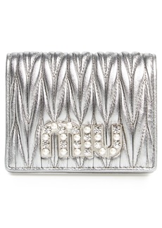 Miu Miu Embellished Logo Matelassé Leather Wallet
