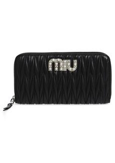 Miu Miu Embellished Logo Matelassé Leather Zip Around Wallet
