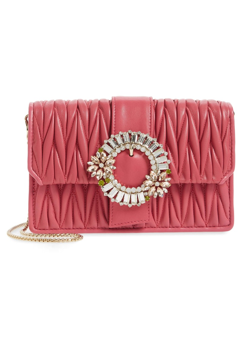 Miu Miu Embellished Matelassé Leather Crossbody Bag