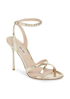 Miu Miu Embellished Metallic Sandal (Women)