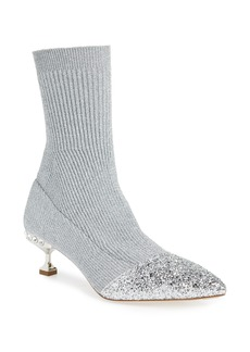 Miu Miu Embellished Metallic Sock Bootie (Women)