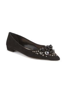 Miu Miu Embellished Pointy Toe Flat (Women)
