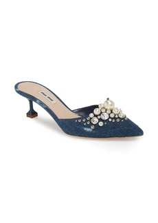 Miu Miu Embellished Pointy Toe Mule (Women)