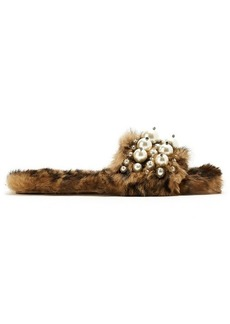 Miu Miu Embellished rabbit-fur slides