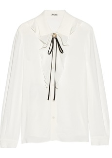 Miu Miu Embellished ruffled silk-trimmed crepe blouse