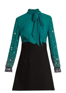Miu Miu Embellished-sleeve silk and cady mini dress