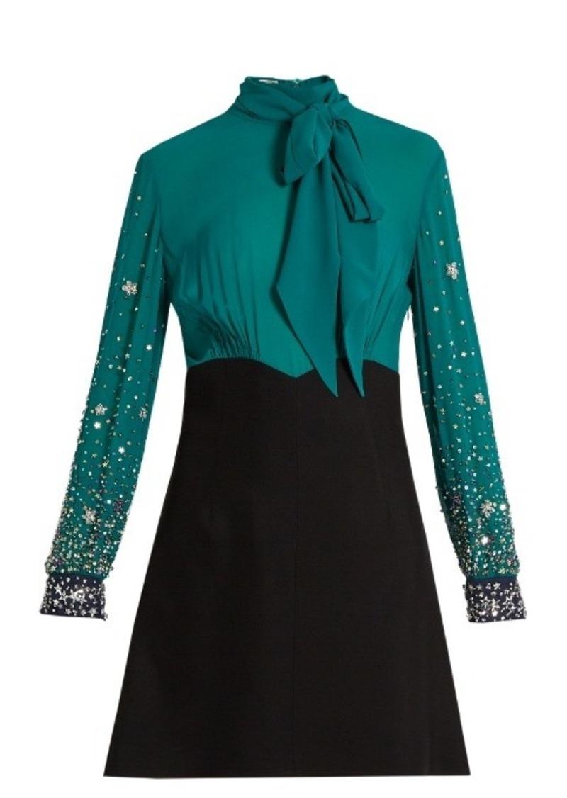 9907118169609 On Sale today! Miu Miu Miu Miu Embellished-sleeve silk and cady mini ...